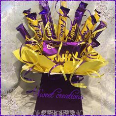 Flake and twirl Chocolate Bouquet SWEET CREATIONS sweet hamper gift party tablecentre christmas – Chocolate Chocolate Bouquet Diy, Chocolate Tree, Chocolate Crafts, Christmas Chocolate, Chocolate Flowers, Candy Bouquet Diy, Bouquet Box, Diy Bouquet, Sweet Bouquets Candy
