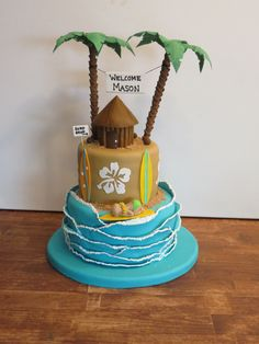 Surfboard baby shower cake