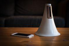 Ceramic iPhone Amplifier by designer Camilla Lee