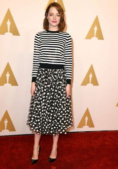 Black & white stripes. Also big polka dots (not necessarily together) 5 Spring Outfit Ideas, Straight From This Year's Oscar Nominees