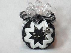 Cat Quilted Ornament  no sew  black fabric by KCFabricOrnaments