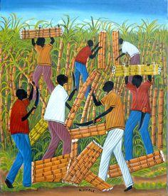 "Art of Haiti, Haitian Sugar Cane Cutters -  Haitian Canvas Painting - Ethnic Art, Canvas Art, Haitian Art, Original Painting - 20"" x 24"" by TropicAccents on Etsy"
