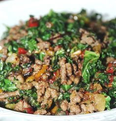 Ground Beef And Kale - I used ground turkey. Very good!
