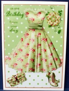 Pretty Vintage Roses Birthday Dress on Craftsuprint designed by Sue Way - made by Cheryl French - Printed onto glossy photo paper. Attached base image to card stock using ds tape. Built up image with 1mm foam pads. - Now available for download!