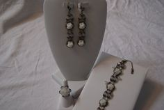 Swarovski White Opal Floral Set by JJBeadDesigns on Etsy, $60.00
