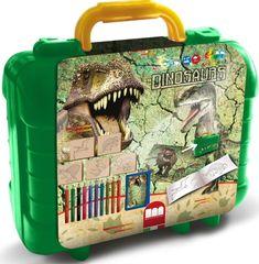 Deze Multiprint Dinosaurs travel set is 18-delig. De travel set bestaat uit 5 houten stempels, 1 stempelkussen, 10 kleurpotloden, een stickervel met 64 stickers en een activeitenboekje. Maak je eigen creaties of maak tekeningen nog mooier met deze Dinosaurs travel set. Voeg wat extra's toe door de afdrukken van de stempels in te kleuren. Het hout dat gebruikt is voor de stempels is afkomstig uit verantwoord beheerde bossen en alle inkten zijn volledig veilig, niet giftig en (af)wasbaar…