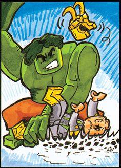 LEGO Hulk vs. LEGO Loki sketch card. Lego Loki, Lego Hulk, Hulk Funny, X Men, Spiderman, Avengers, Geek Stuff, Sketch, Marvel