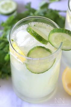 Cilantro Cucumber Boozy Lemonade from @nutmegnanny
