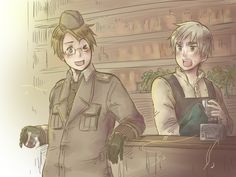 we'll meet again by Crystalicia.deviantart.com  This picture is a fanart for George deValier's story We'll meet again.  Summary: WW2 AU. London pub owner Arthur Kirkland is driven to distraction by loud, brash American fighter pilot Alfred Jones. Unable to stop it, Arthur finds himself falling for Alfred's charms... just as the pilot is preparing to leave for war.  http://www.fanfiction.net/s/6153333/1/