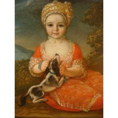 Tableau Portrait Petite Fille Et Son Chien Epoque XVIII ème Siècle