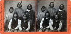 Portrait of Piute Indians near Reno, to be used with a stereoviewer, originally published by A. A. Hart, republished here by Watkins Pacific Railroad, United States, 1865, photograph by Alfred A. Hart.