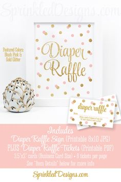 Printable Diaper Raffle Tickets & Sign for Girl Baby Shower, Blush Pink Gold Glitter Baby Shower Game Ideas, Bring A Pack of Diapers Cards - SprinkledDesigns.com
