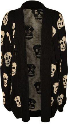 WearAll Women's Plus Size Skull Long Sleeve Knitted Cardigan - Black - US 12-14 (UK 16-18)