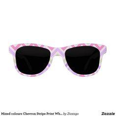 Mixed colours Chevron Stripe Print White 2 Sunglasses