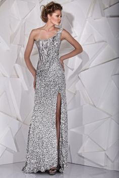 TONY WARD - Silver One-Shoulder evening dress mixing innovative leather sequins with cascades of grey stones.