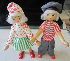Wooden Dutch Boy and Girl Dolls  Wooden by JewelsOfHighElegance, $20.00
