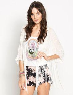 Dotti Sheer Fringe Kimono $69.95
