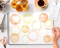 Watercolor clipart circles and frames (48 pc) orange yellow tangerine. handpainted round for logo design, blogs digital scrapbooking cards