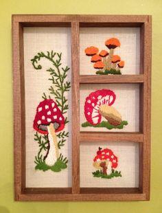 Vintage 1970s Shadow Box  Mushrooms by SnazzVintageWares on Etsy, $24.00