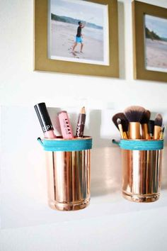 Hang some metallic jars with colorful twine to free up space on your vanity.