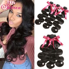 Shireen Brazilian Hair Weave 3 Bundles 10-28 inch 100% Human Hair Bundle Deals Natural Black Color Remy Hair Body Wave Bundles. #Shireen #Brazilian #Hair #Weave #Bundles #inch #Human #Bundle #Deals #Natural #Black
