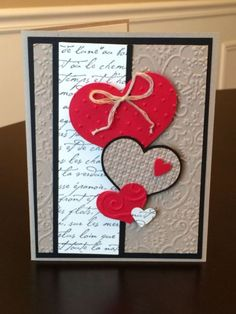 25 Unique and Beautiful Valentine Cards - decorisme Valentine Love Cards, Handmade Valentines Cards, Homemade Valentine Cards, Karten Diy, Embossed Cards, Cricut Cards, Stamping Up Cards, Heart Cards, Anniversary Cards