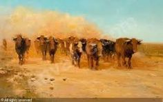 A Herd of Cattle Walking Along a Dusty Path by Adriaan Hendrik Boshoff South African Artists, Impressionist Art, Mellow Yellow, Art Google, Art Oil, Cattle, Pet Birds, Paths, Pictures