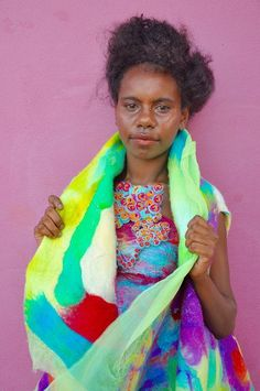 Kaleidoscopic beauty: a model wearing designs by Mornington Island MiArt