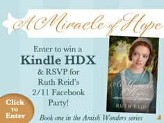 "Ruth Reid is celebrating the release of her new novel, ""A Miracle of Hope,"" with a Kindle Fire HDX and a Facebook Author Chat Party. Click for details!"