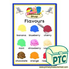 Seaside Shop Role Play Resources - Primary Treasure Chest Teaching Activities, Teaching Ideas, Seaside Shops, Early Years Classroom, Seaside Holidays, Sound Art, Ice Cream Flavors, Chocolate Orange, Letter Sounds