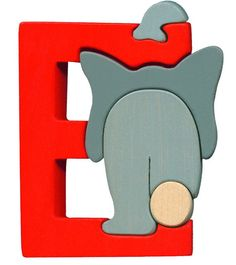 Montessori - Waldorf wooden puzzle letter E, made by hand of maple wood,no harmful colors and no lacquer on Etsy, $6.00