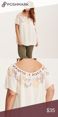 """Torrid Off The Shoulder Floral Embroidered Top Gorgeous and trendy boho gauze blouse   Product Details:  Hand-stitched floral embroidery details  off shoulder sleeves  swingy silhouette adds the perfect amount of ease.   Measurements:  Armpit to Armpit: 28""""  Length: 29""""   Material:  Rayon   Care:  Cold Wash, Line Dry torrid Tops Blouses"""