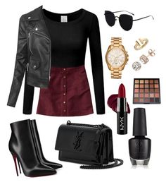 """L #2"" by nandwea ❤ liked on Polyvore featuring Hollister Co., LE3NO, Christian Louboutin, Yves Saint Laurent, Michael Kors, Tiffany & Co., Diamond Splendor and NYX"