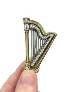 Swarovski Harp Brooch Pave Set Rhinestones on Gold by RibbonsEdge Ukulele, Violin, Guitar, Swarovski Swan, Swarovski Jewelry, Antique Jewelry, Vintage Jewelry, Music Gifts, Harp