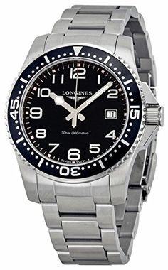 Longines HydroConquest Black Dial Stainless Steel Mens Watch L36894536