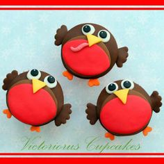 Red robin cupcakes Made exclusively for goodtoknow Recipes, Victoria Threader's cute robin cupcakes make a lovely festive treat. Give your cakes bags of character with this fun design Animal Cupcakes, Cute Cupcakes, Decorated Cupcakes, Monkey Cupcakes, Spring Cupcakes, Amazing Cupcakes, Owl Cupcakes, Fondant Icing, Chocolate Fondant