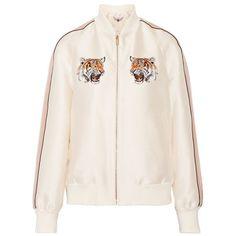 STELLA McCARTNEY Lorinda embroidered duchesse-satin bomber jacket ($868) ❤ liked on Polyvore featuring outerwear, jackets, zip jacket, white zipper jacket, zip bomber jacket, embroidered jacket and bomber jackets