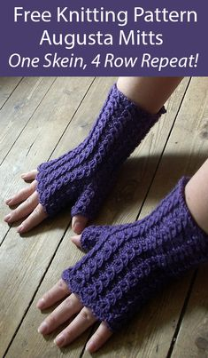 One Skein Fingerless Mitts Knitting Patterns - In the Loop Knitting Beginner Knitting Patterns, Knit Patterns, Knitting Projects, Fingering Yarn, Sport Weight Yarn, Fingerless Gloves Knitted, Baby Doll Clothes, Baby Knitting, Knitted Baby