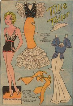 Tillie the Toiler paper doll by Iva Mae Brown, 1934.  I don't go back this far, but I do remember Tillie the Toiler