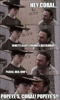 Hey Coral What's Glenn's Favorite Restaurant funny memes meme lol funny quotes humor the walking dead rick Walking Dead Funny, Walking Dad Jokes, Walking Dead Coral, Carl The Walking Dead, The Walk Dead, Twd Memes, Funny Memes, Hilarious, Nerd Funny