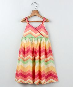 Another great find on #zulily! Orange Zigzag Surplice Dress - Girls by Beebay #zulilyfinds