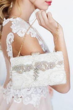 Bridal clutch wedding clutch ivory bridal clutch lace pearl
