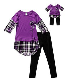 Loving this Purple & Black Tunic Set & Doll Outfit - Girls on #zulily! #zulilyfinds