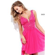 Short Fuchsia Sherri Hill 50756 A Line Homecoming Dress