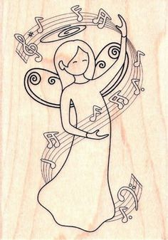 Angel of Music PS0564 Hampton Art Rubber Stamp w M Musical Notes Free SHIP | eBay