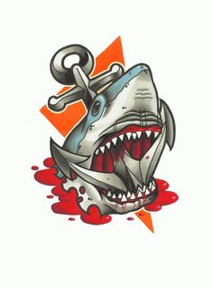 Shark and Anchor Tattoo Design by funkt-green on DeviantArt