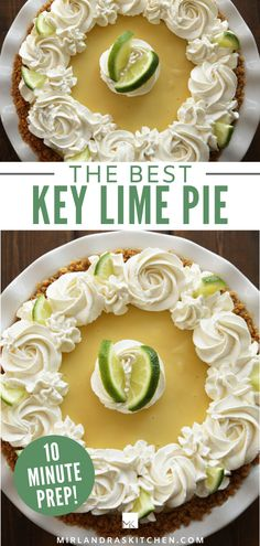 Sweet, buttery graham cracker crust is filled with thick creamy lime filling. This authentic key lime pie recipe is SO easy with just three ingredients in the filling! By the time you get to the decadent sweet whipped cream on top I'm positive you will never buy another frozen Edwards Key Lime Pie! #pie #easy #fromscratch #dessert