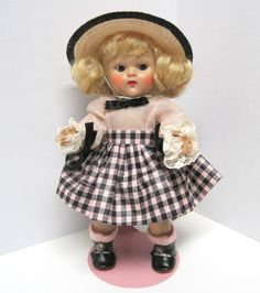 Vintage 1953 Vogue Ginny Doll Tiny Miss Beryl 43 Pink Black Checked Outfit | eBay