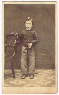 Standing Cute Little Boy in Peoria Illinois by Welland Grimsby 1860's CDV | eBay