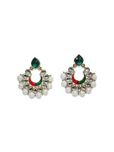 DELHI DIVA CRESCENTS by designer Sobayha Accessories from sobayha.com.Gorgeous coloured teardrop stud with a coloured crescent, finished with large pearl edging in a gold brushed frame.Available in pink and Green, Red and Green & Red. See more at: https://www.sobayha.com/catalogue/delhi-diva-pearl-crescents_151/